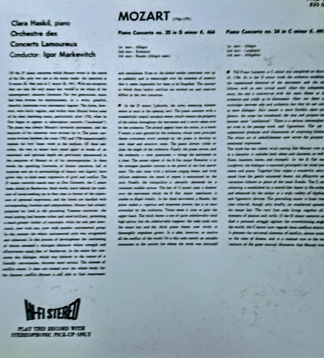 紙ジャケ24ビット盤CD/ハスキル:モーツァルトPf協奏曲第20&24番(国内盤、中古品、帯なし)_画像2