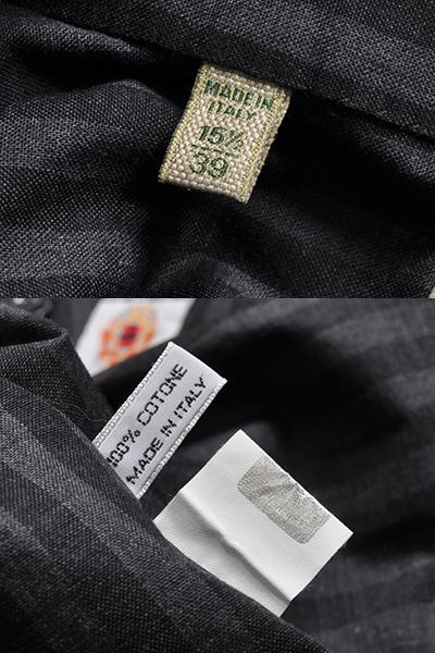 新品3.6万 LUIGI BORRELLI ルイジボレッリ 春夏スタイルON/OFFシックに決まる! ストライプ柄 長袖シャツ (39) 「M相当」ブラック×グレー_画像10
