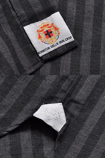新品3.6万 LUIGI BORRELLI ルイジボレッリ 春夏スタイルON/OFFシックに決まる! ストライプ柄 長袖シャツ (38) 「M相当」ブラック×グレー_画像9