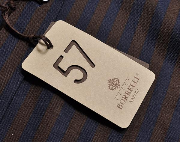 新品3.6万 LUIGI BORRELLI ルイジボレッリ 春夏シーズン(鹿の子)ピケ素材 ストライプ柄 長袖シャツ (Mサイズ) ネイビー×ブラウン メンズ_画像5