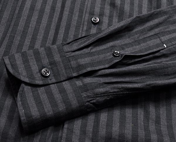 新品3.6万 LUIGI BORRELLI ルイジボレッリ 春夏スタイルON/OFFシックに決まる! ストライプ柄 長袖シャツ (39) 「M相当」ブラック×グレー_画像7