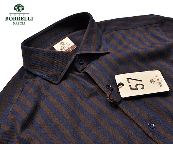 新品3.6万 LUIGI BORRELLI ルイジボレッリ 春夏シーズン(鹿の子)ピケ素材 ストライプ柄 長袖シャツ (Mサイズ) ネイビー×ブラウン メンズ
