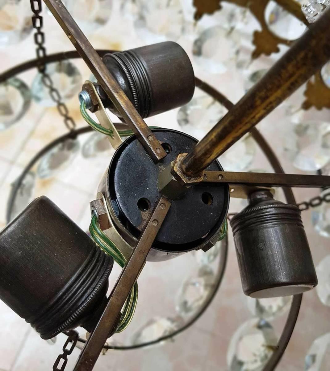 フランス アンティーク 高級オールドクリスタル シャンデリア 真鍮無垢 芸術彫刻 3灯 French brass Imperial chandelier 1950s_画像4