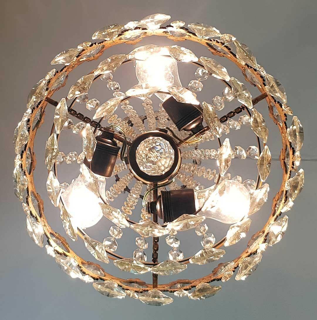 フランス アンティーク 高級オールドクリスタル シャンデリア 真鍮無垢 芸術彫刻 3灯 French brass Imperial chandelier 1950s_画像8