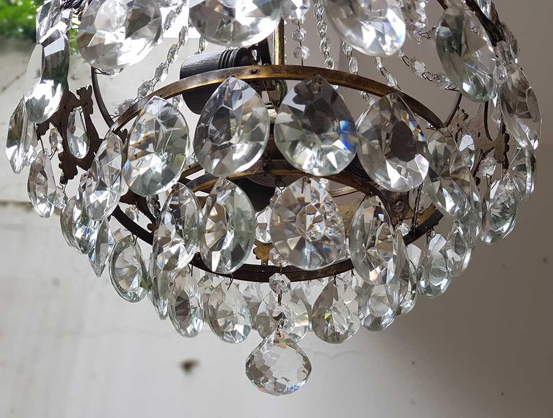 フランス アンティーク 高級オールドクリスタル シャンデリア 真鍮無垢 芸術彫刻 3灯 French brass Imperial chandelier 1950s_画像7