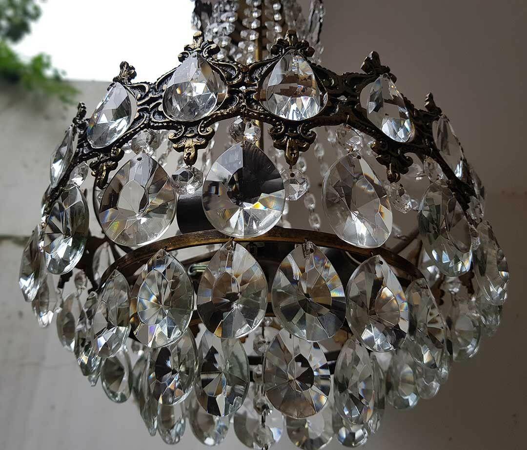 フランス アンティーク 高級オールドクリスタル シャンデリア 真鍮無垢 芸術彫刻 3灯 French brass Imperial chandelier 1950s_画像6