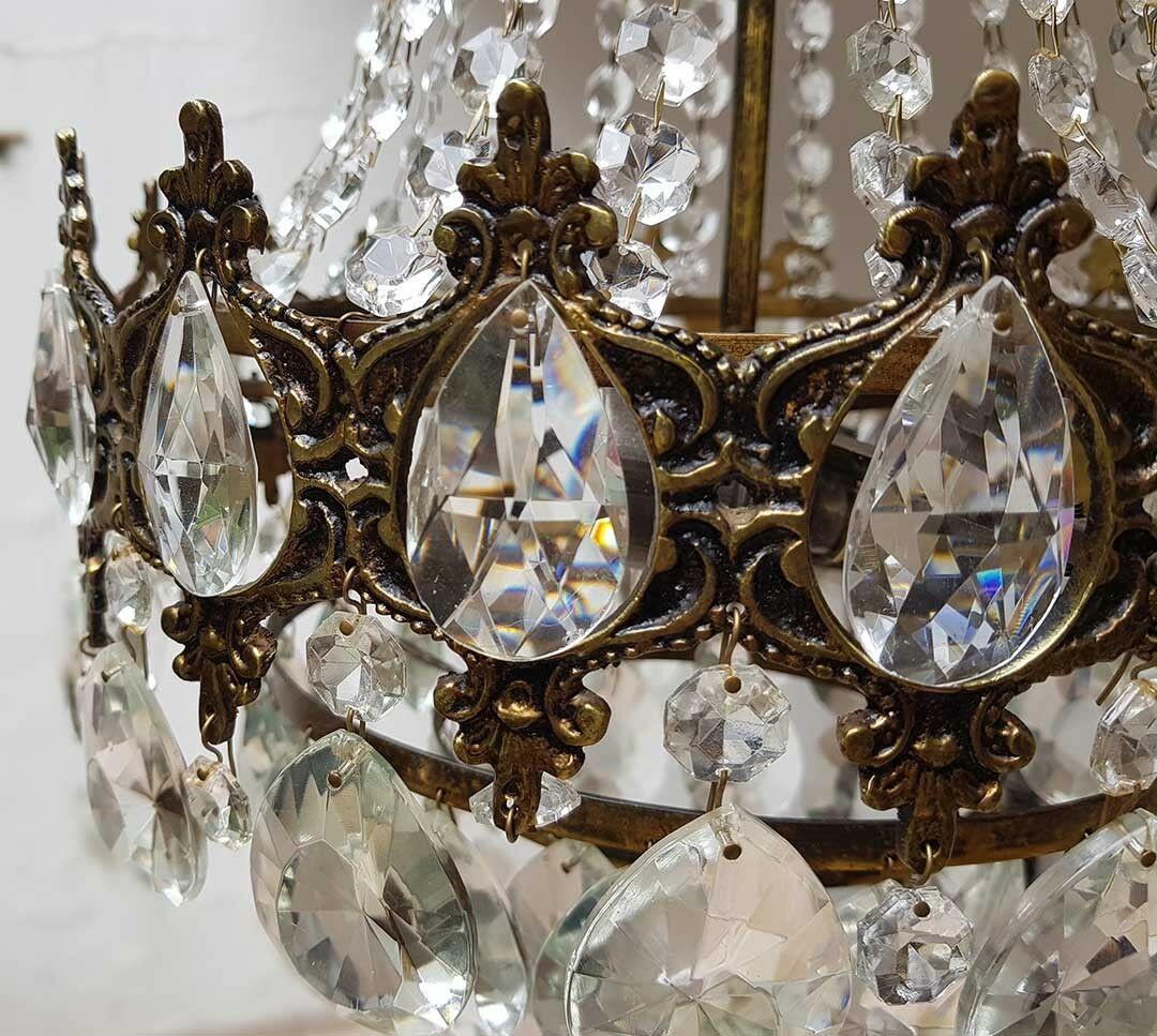 フランス アンティーク 高級オールドクリスタル シャンデリア 真鍮無垢 芸術彫刻 3灯 French brass Imperial chandelier 1950s_画像5