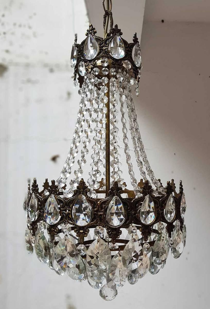 フランス アンティーク 高級オールドクリスタル シャンデリア 真鍮無垢 芸術彫刻 3灯 French brass Imperial chandelier 1950s_画像9