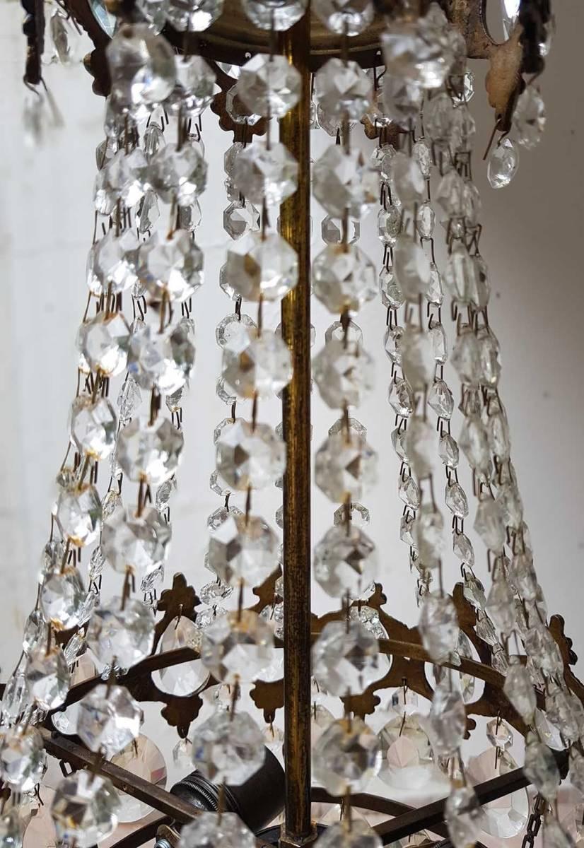 フランス アンティーク 高級オールドクリスタル シャンデリア 真鍮無垢 芸術彫刻 3灯 French brass Imperial chandelier 1950s_画像3