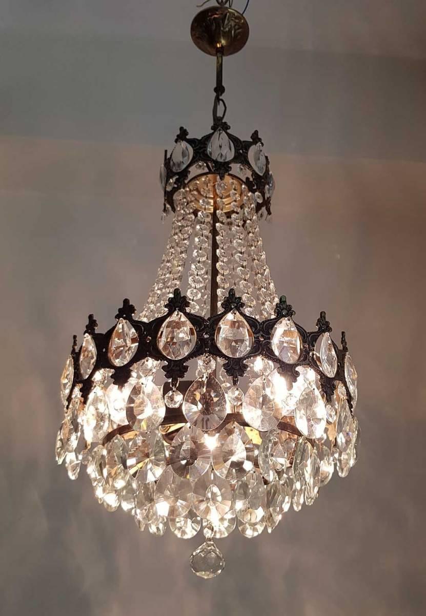 フランス アンティーク 高級オールドクリスタル シャンデリア 真鍮無垢 芸術彫刻 3灯 French brass Imperial chandelier 1950s_画像1