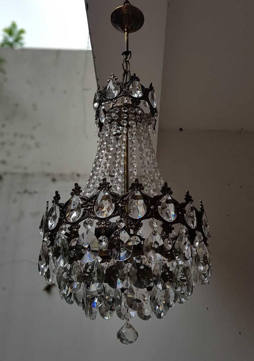 フランス アンティーク 高級オールドクリスタル シャンデリア 真鍮無垢 芸術彫刻 3灯 French brass Imperial chandelier 1950s_画像2