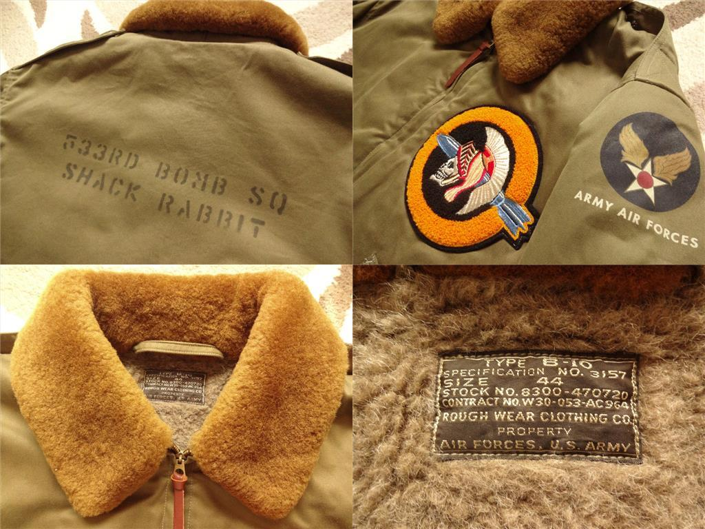 【バズリクソンズ BuzzRickson's】 B-10(44) ★純正カスタムモデル!!★_ラベルは「ROUGH WEAR CLOTHING CO.」