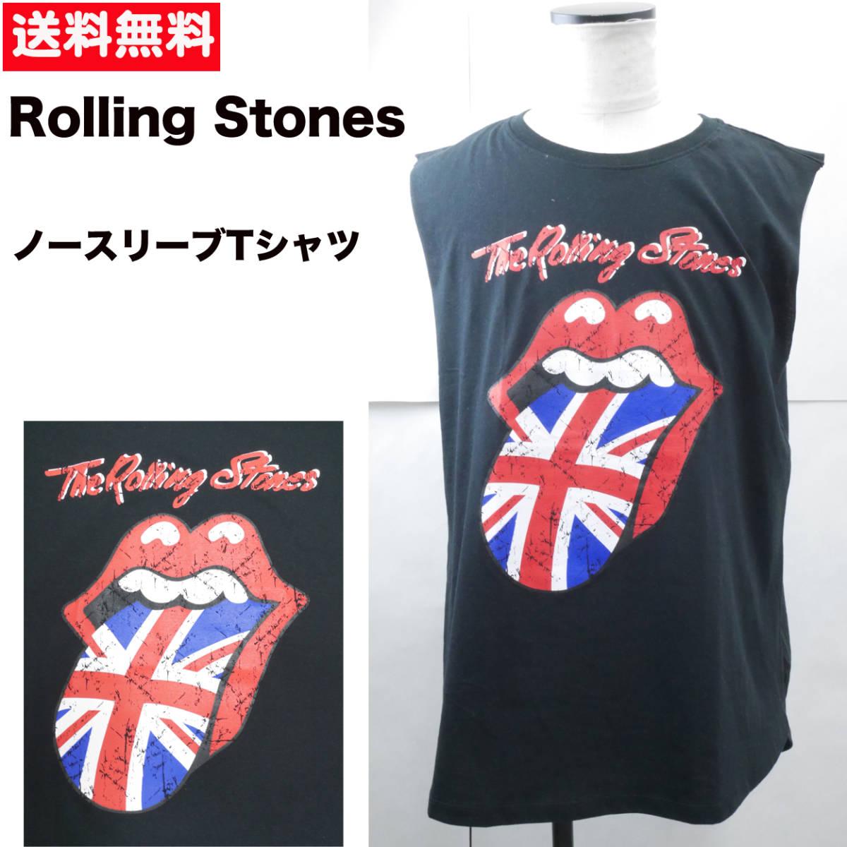 【新品】 バンドTシャツ L ノースリーブ 半袖 ビッグ ワイド ロック ローリングストーンズ The Rolling Stones 7/13_画像1