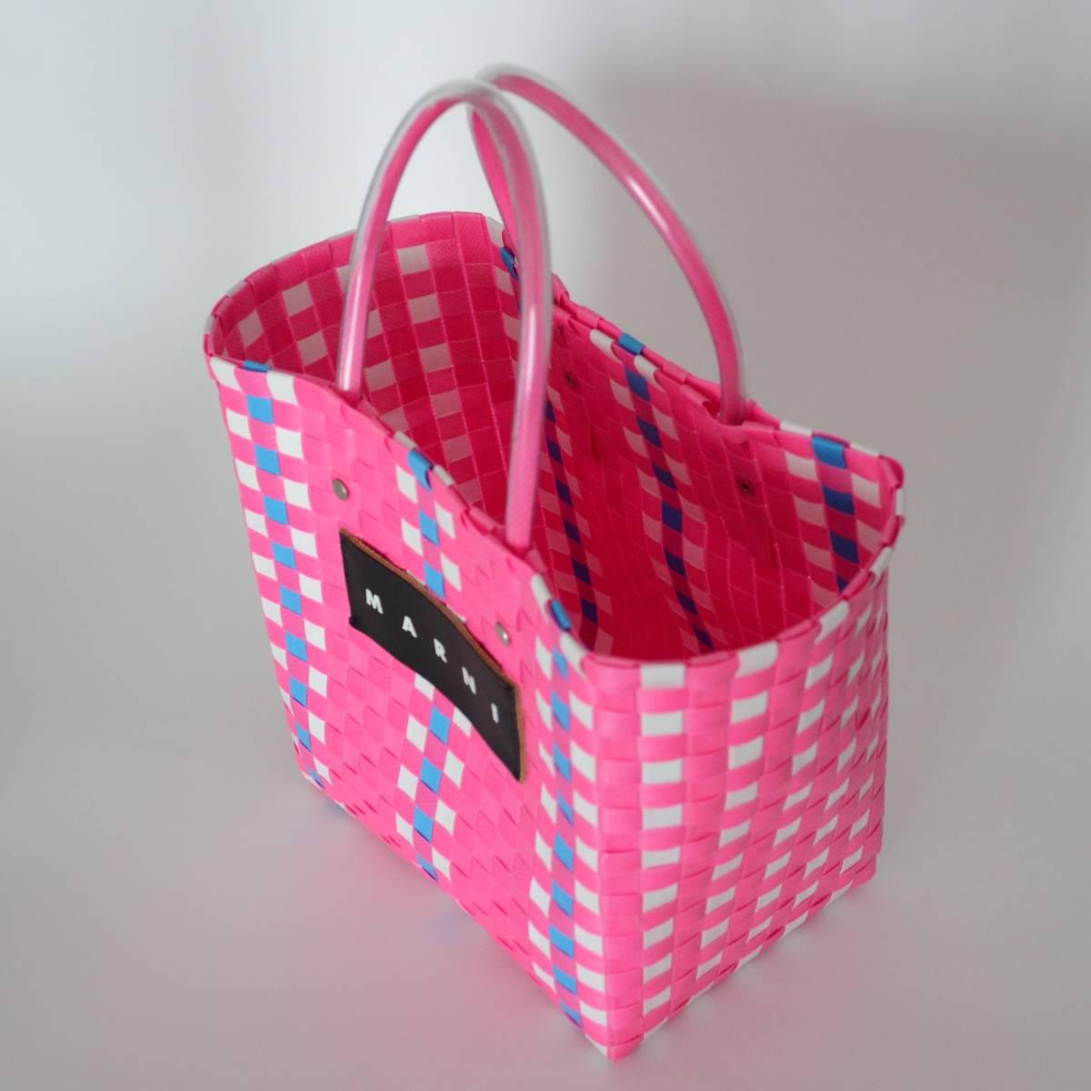 【マルニマーケット】 未使用 ピクニックバッグ ピンク ミニサイズ スクエアショッピングバック/かご/かばん 阪急うめだ本店で購入 MARNI_画像2
