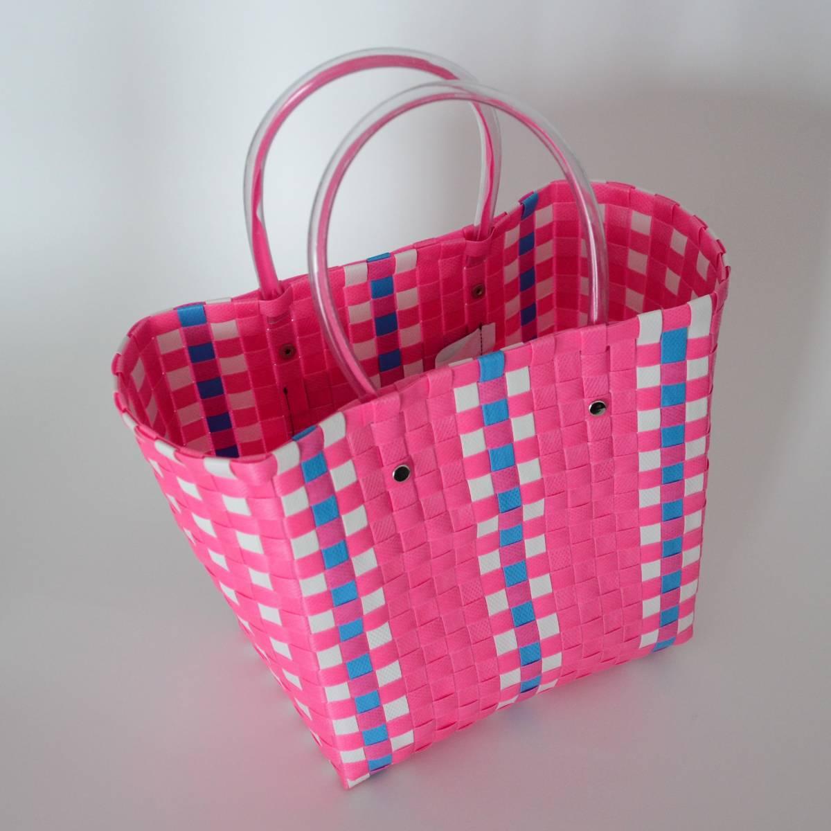 【マルニマーケット】 未使用 ピクニックバッグ ピンク ミニサイズ スクエアショッピングバック/かご/かばん 阪急うめだ本店で購入 MARNI_画像3