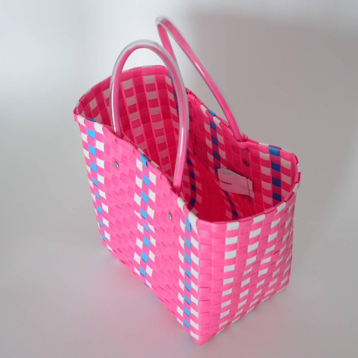 【マルニマーケット】 未使用 ピクニックバッグ ピンク ミニサイズ スクエアショッピングバック/かご/かばん 阪急うめだ本店で購入 MARNI_画像4