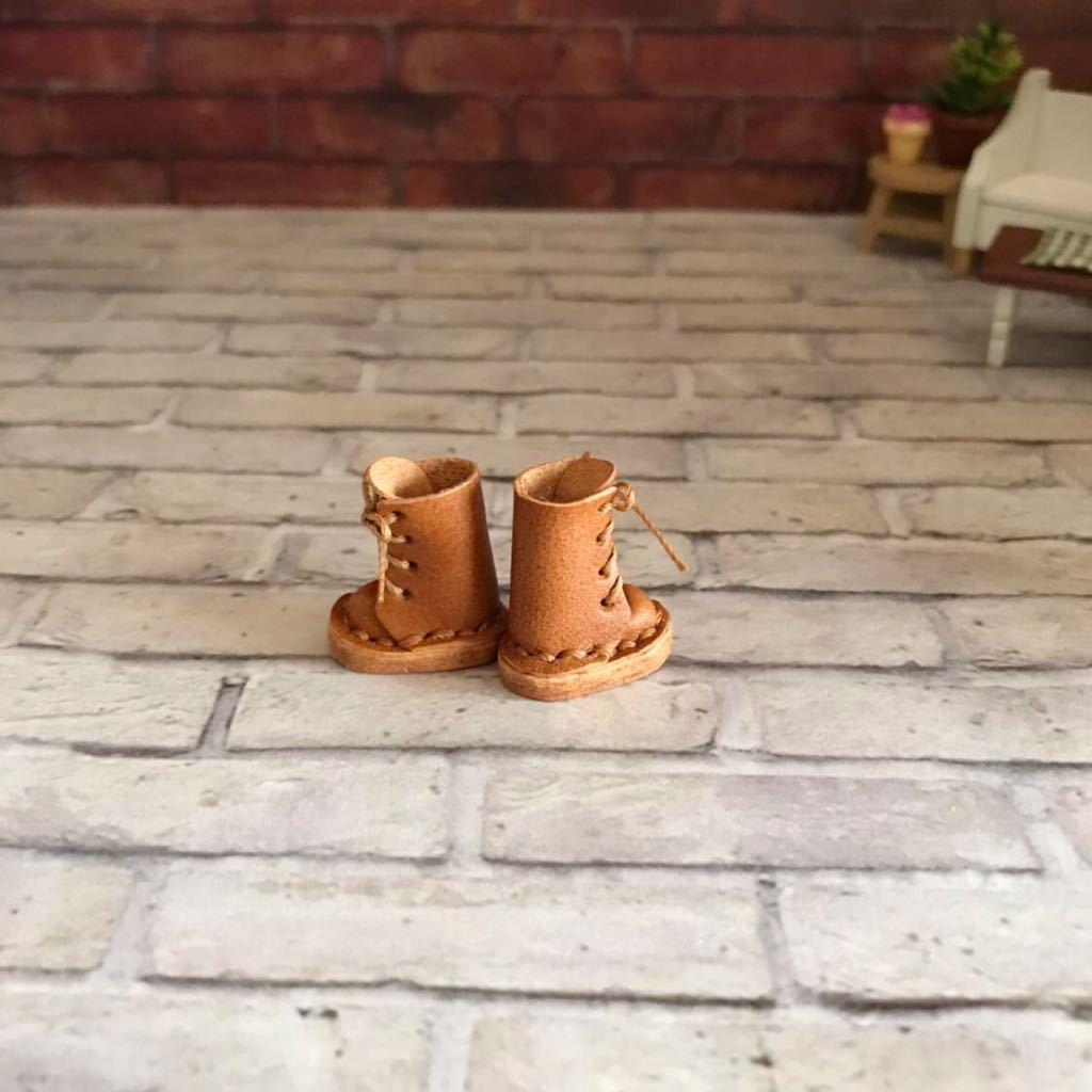 プチブライス 本革 ミニチュア靴 キャメル_画像3