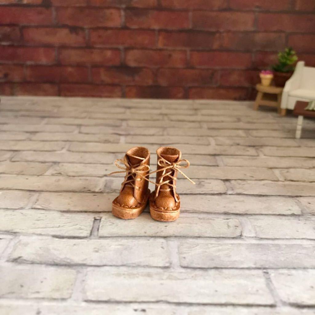 プチブライス 本革 ミニチュア靴 キャメル_画像2