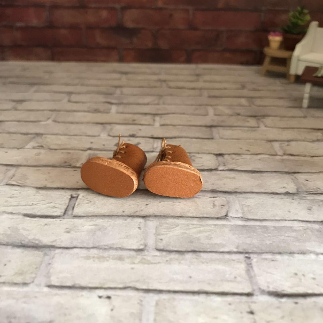 プチブライス 本革 ミニチュア靴 キャメル_画像4