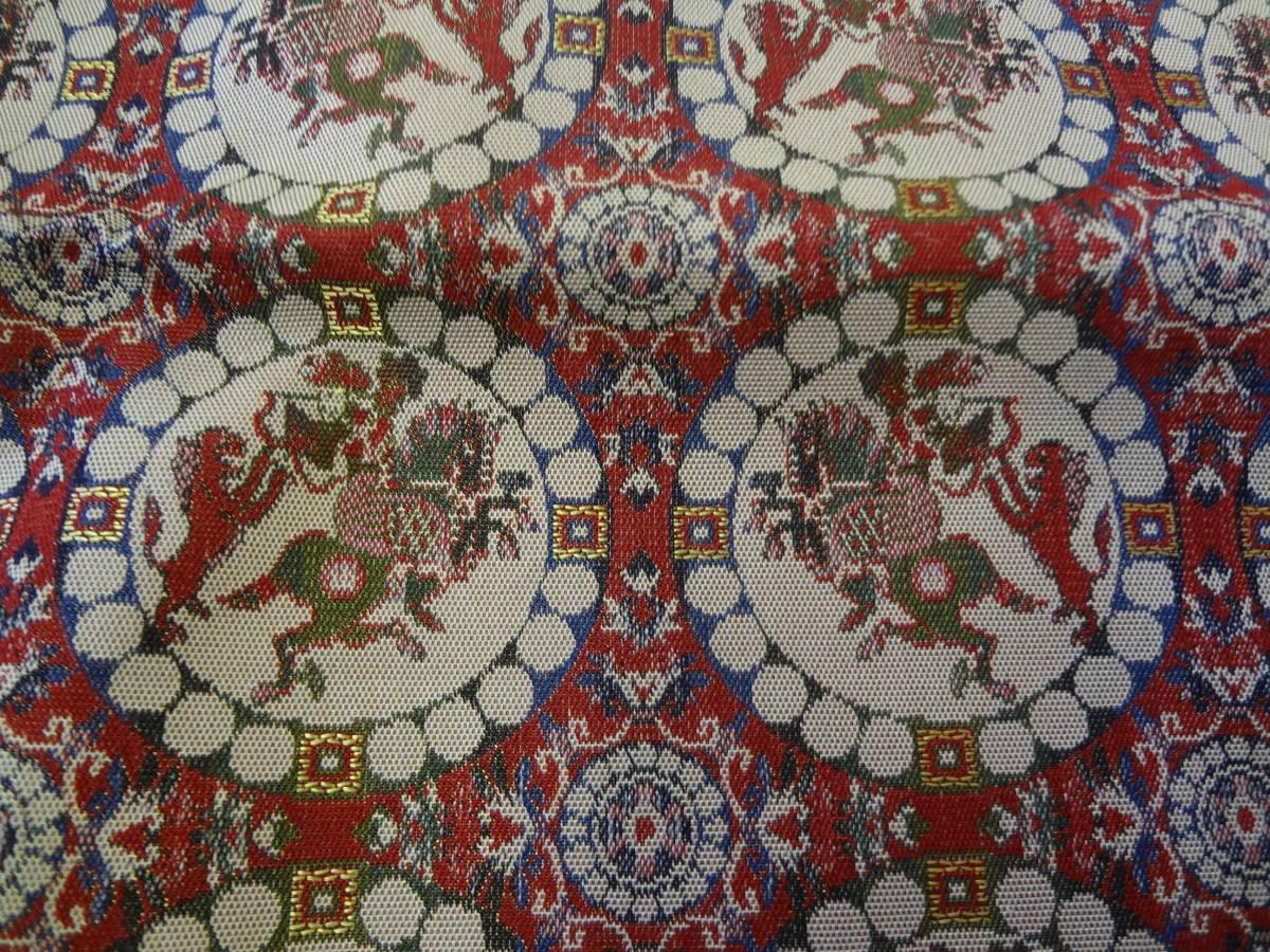 ●○龍村美術織物 獅子狩文錦 ペルシャ騎手 絹100% テーブルセンター○●_画像4