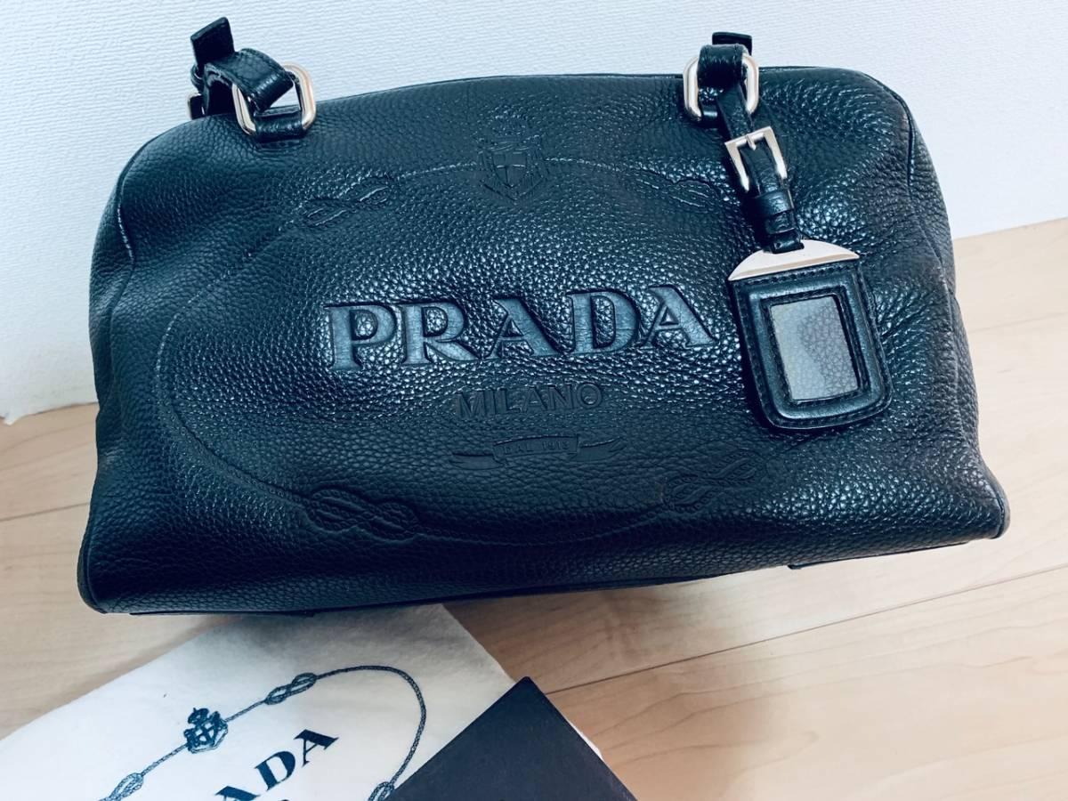 PRADA プラダ ボストンバッグ ブラック ギャランティ―カード 付属 Boston Bag Black
