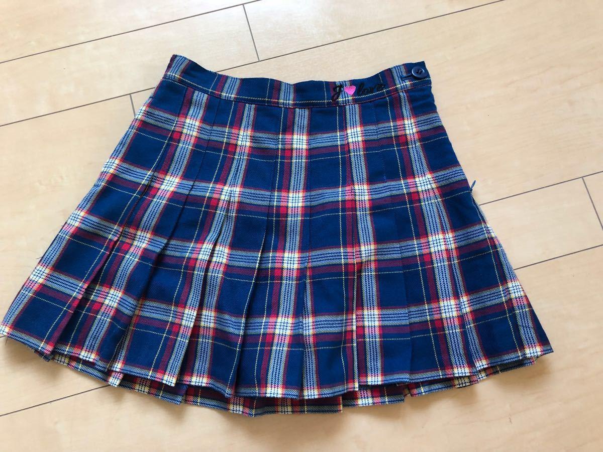 ☆ジェニィ ラブ ☆JENNI love☆青系のチェックのスカート☆ショートパンツ付き☆サイズ140☆美品