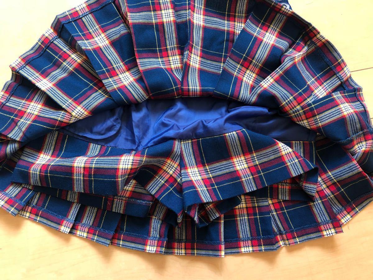 ☆ジェニィ ラブ ☆JENNI love☆青系のチェックのスカート☆ショートパンツ付き☆サイズ140☆美品 _画像6