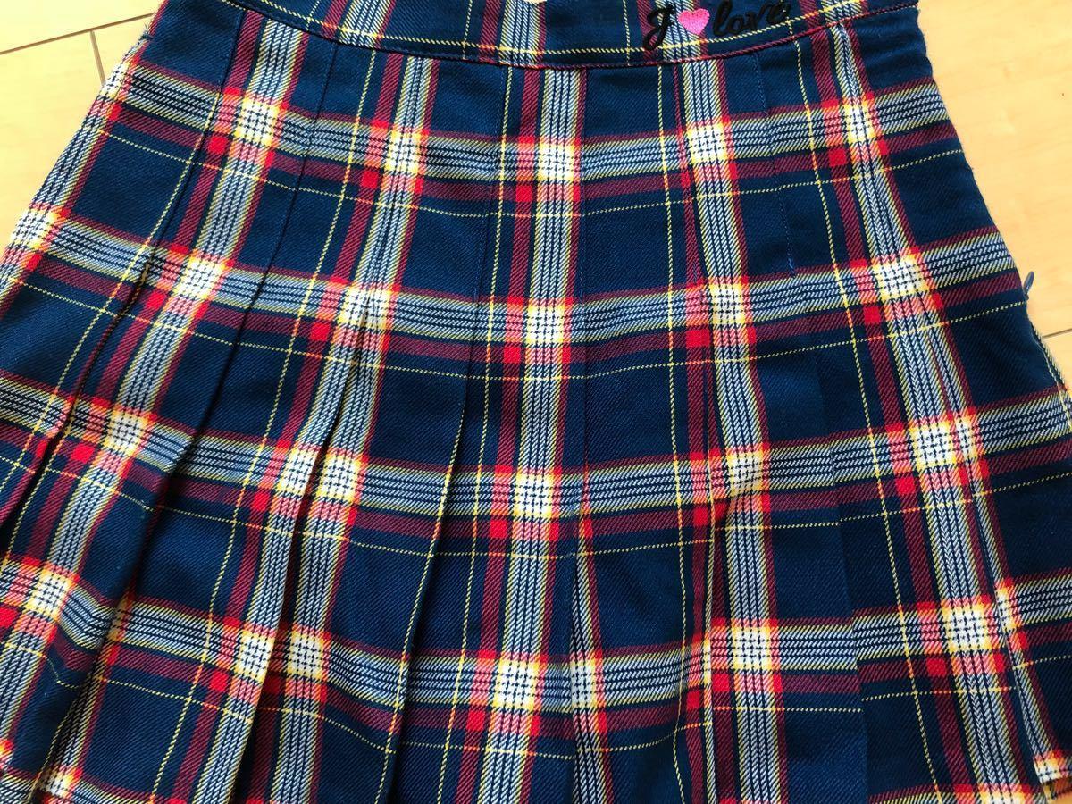 ☆ジェニィ ラブ ☆JENNI love☆青系のチェックのスカート☆ショートパンツ付き☆サイズ140☆美品 _画像3