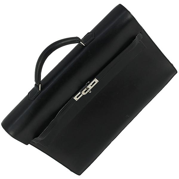 h-e398 中古 エルメス ケリーデペッシュ38 ボックスカーフ レザー ブラック シルバー金具 ブリーフケース ビジネスバッグ ハンドバッグ 鞄_画像4