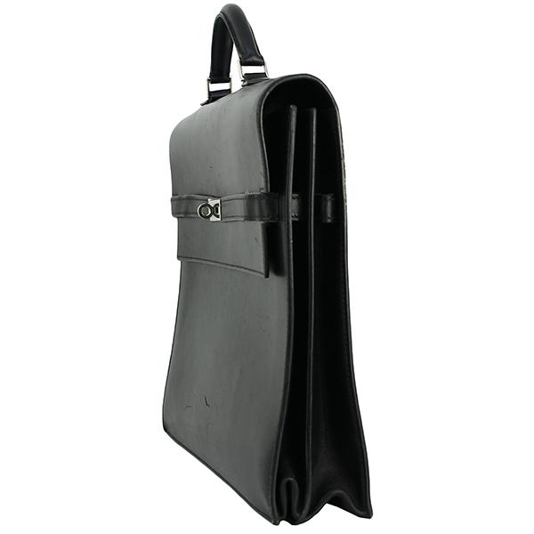 h-e398 中古 エルメス ケリーデペッシュ38 ボックスカーフ レザー ブラック シルバー金具 ブリーフケース ビジネスバッグ ハンドバッグ 鞄_画像3