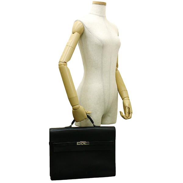 h-e398 中古 エルメス ケリーデペッシュ38 ボックスカーフ レザー ブラック シルバー金具 ブリーフケース ビジネスバッグ ハンドバッグ 鞄_画像8