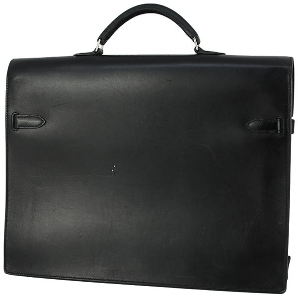 h-e398 中古 エルメス ケリーデペッシュ38 ボックスカーフ レザー ブラック シルバー金具 ブリーフケース ビジネスバッグ ハンドバッグ 鞄_画像2