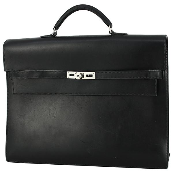h-e398 中古 エルメス ケリーデペッシュ38 ボックスカーフ レザー ブラック シルバー金具 ブリーフケース ビジネスバッグ ハンドバッグ 鞄