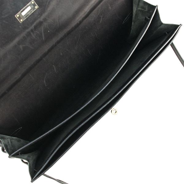 h-e398 中古 エルメス ケリーデペッシュ38 ボックスカーフ レザー ブラック シルバー金具 ブリーフケース ビジネスバッグ ハンドバッグ 鞄_画像6