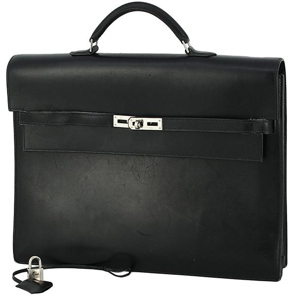 h-e398 中古 エルメス ケリーデペッシュ38 ボックスカーフ レザー ブラック シルバー金具 ブリーフケース ビジネスバッグ ハンドバッグ 鞄_画像7