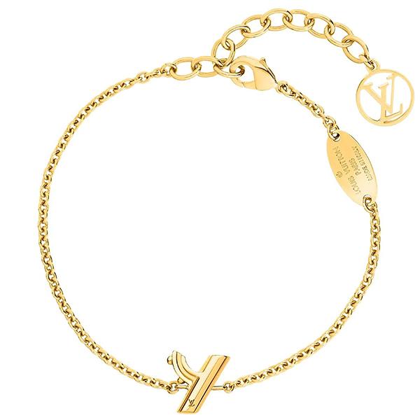 h-c754 新品 ルイヴィトン ブレスレット LV & ME Y メタル ゴールド 女性用 イニシャル LVチャーム ロゴ チェーンブレス アクセサリー 小物