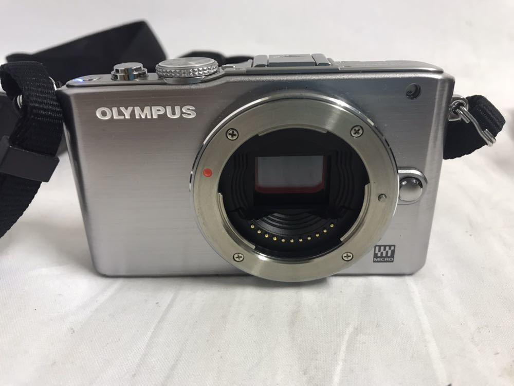 【1円~】OLYMPUS オリンパス PEN Lite E-PL3 ボディ シルバー ブラック 2点セット_画像7