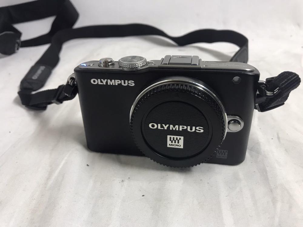 【1円~】OLYMPUS オリンパス PEN Lite E-PL3 ボディ シルバー ブラック 2点セット_画像2
