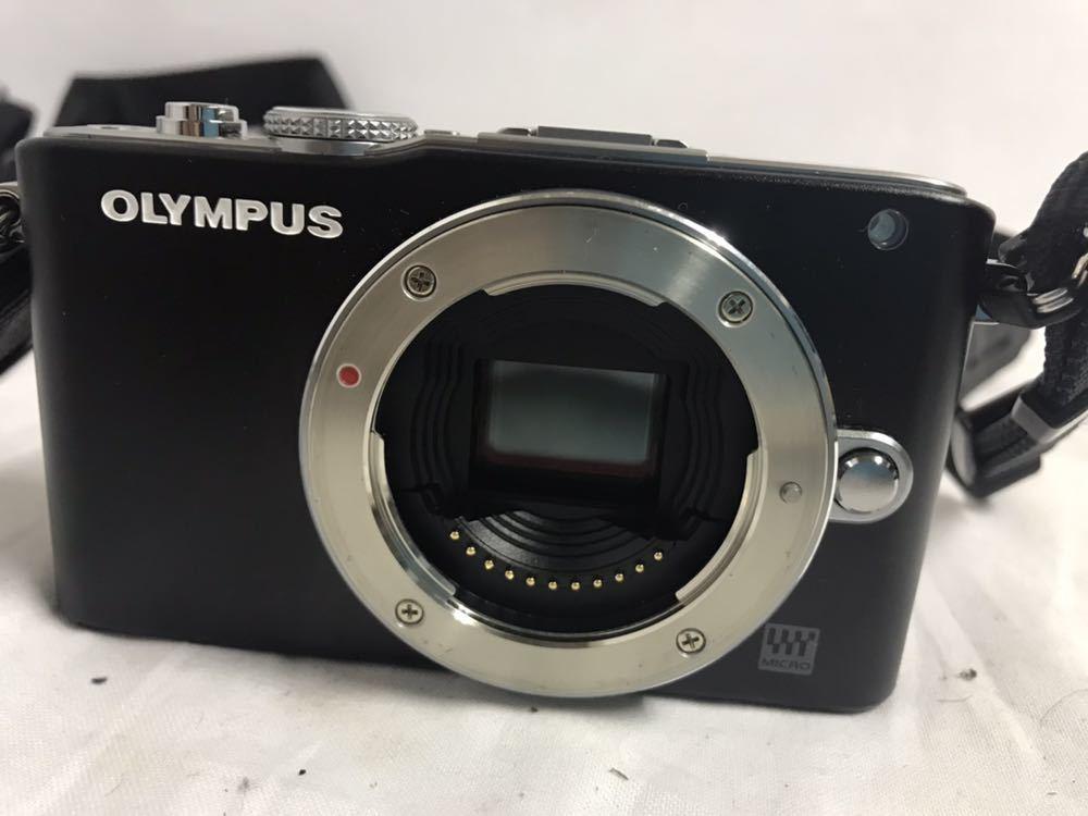 【1円~】OLYMPUS オリンパス PEN Lite E-PL3 ボディ シルバー ブラック 2点セット_画像3