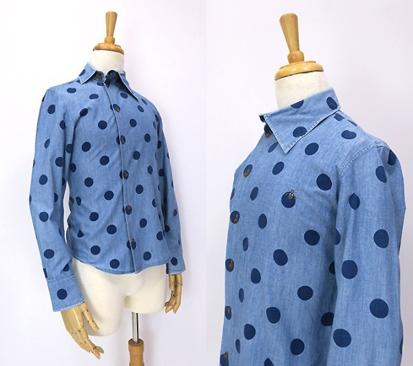 ヴィヴィアンウエストウッド アシンメトリー変形衿◎ドット柄 長袖シャツ 44_画像2