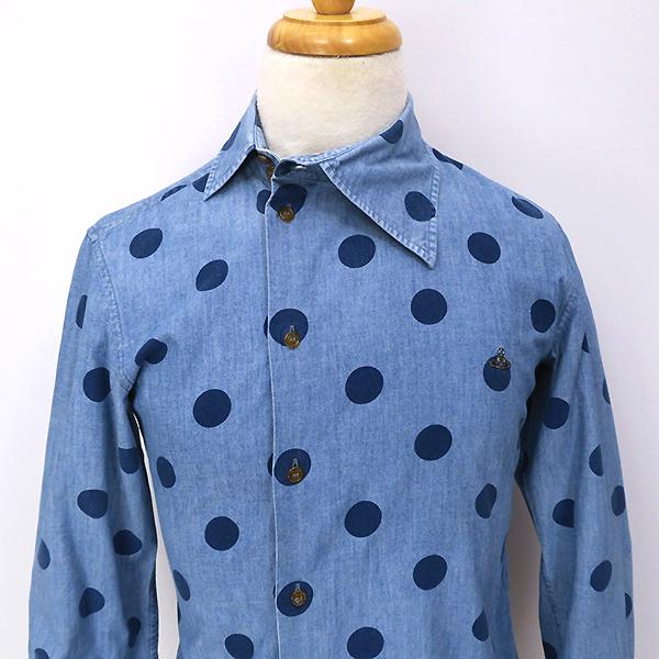 ヴィヴィアンウエストウッド アシンメトリー変形衿◎ドット柄 長袖シャツ 44_画像6