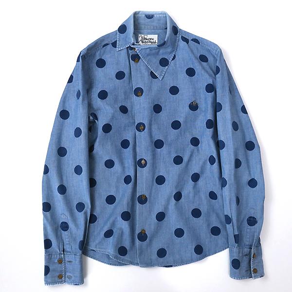 ヴィヴィアンウエストウッド アシンメトリー変形衿◎ドット柄 長袖シャツ 44