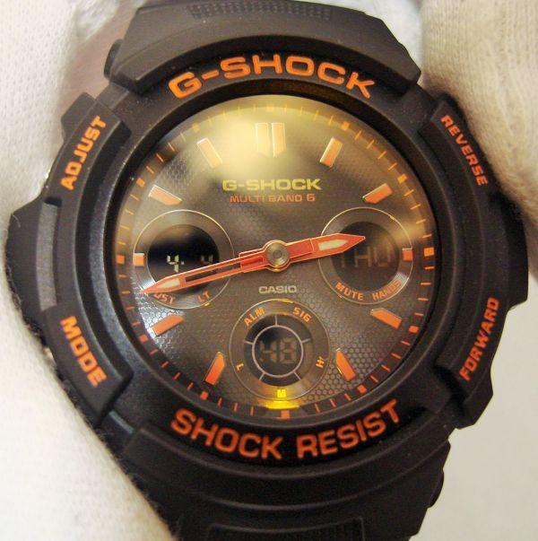 限定カラー CASIO カシオ ジーショック G-SHOCK AWG-M100SBR デジアナ オレンジ 電波ソーラー_画像3