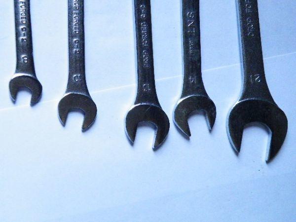 【工具】旭金属工業 ASH 極薄両口スパナセット 8×9、10×12、11×13、14×17、19×21 5本組 美品動作品_画像3