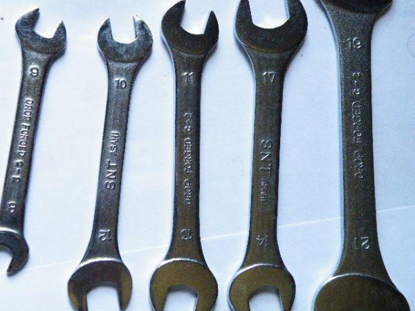 【工具】旭金属工業 ASH 極薄両口スパナセット 8×9、10×12、11×13、14×17、19×21 5本組 美品動作品_画像2