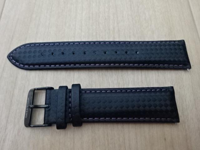 腕時計用ベルト カーボン柄ラバー 裏面レザー 22mm ブラック/パープルステッチ 黒/紫ステッチ バンド_画像1