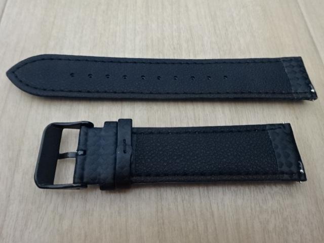 腕時計用ベルト カーボン柄ラバー 裏面レザー 22mm ブラック/パープルステッチ 黒/紫ステッチ バンド_画像3