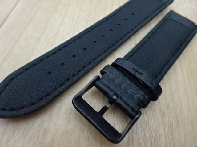 腕時計用ベルト カーボン柄ラバー 裏面レザー 22mm ブラック/パープルステッチ 黒/紫ステッチ バンド_画像4