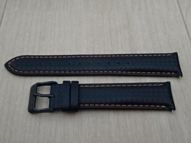 腕時計用ベルト カーボン柄ラバー 20mm 黒/橙ステッチ ブラック/オレンジステッチ バンド_画像1