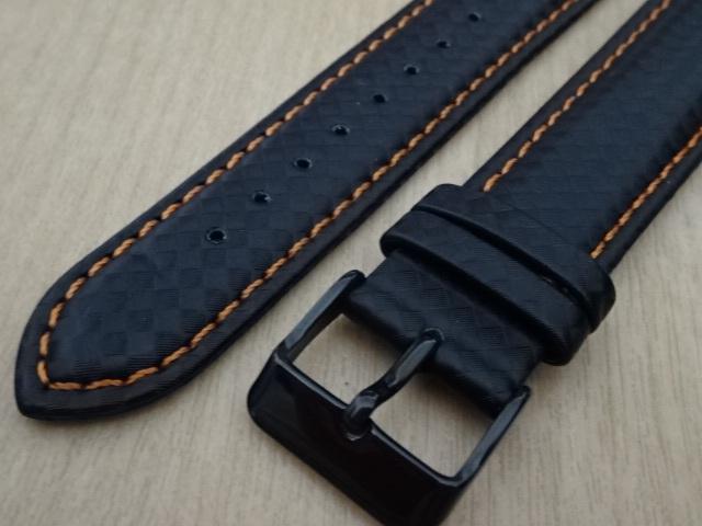 腕時計用ベルト カーボン柄ラバー 20mm 黒/橙ステッチ ブラック/オレンジステッチ バンド_画像2